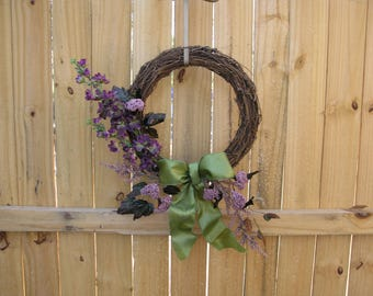 Grapevine Wreath ~ Purple and Green Flowers ~ Green Satin Bow ~ Sage Green ~ Summer Wreath ~ Spring Wreath
