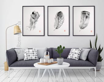 Feathers set art prints Feather Illustration Black Grey White set of 3 Art Print Minimalist Poster Gifts for Him Living Room Bedroom Drawing