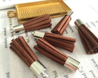 wholesale 50pieces brown suede leather silver metal cap tassel --for length 35mm