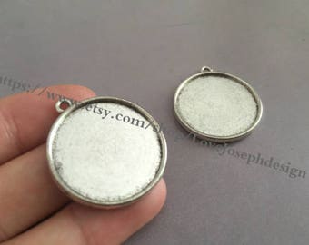 Wholesale 20 Pieces /Lot Antique Silver & Bronze Plated 25mm(both side) cabochon bezel trays charms(#0370)