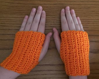Crochet Fingerless Gloves, Orange, Small Gloves, Wrist Warmers, Texting Gloves, Crochet Gloves, Arm Warmers, Fingerless Mittens, Hippie Boho