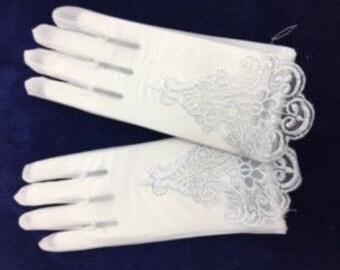 White Sheer Embroidered Gloves for Girls /2BL