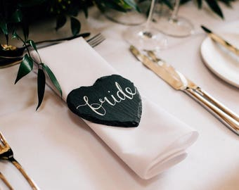 Slate Wedding Place Names / Favours - wedding decor, table decor, slate coasters