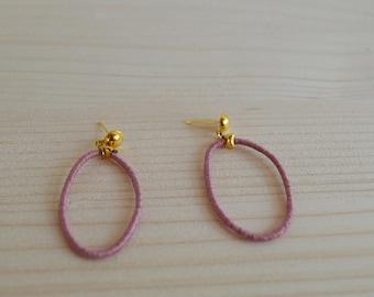 Dusty pink linen hoop studs earrings