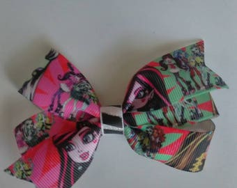 Monster high hair bow, Monster high hair clip, girls pigtail set, baby hair bow, toddler hair clips, Monster high cartoon