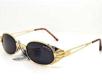 Occhiali da sole uomo donna vintage 90 ovale metallo oro lenti nere, Oval sunglasses men woman style steampunk metal gold Italian style
