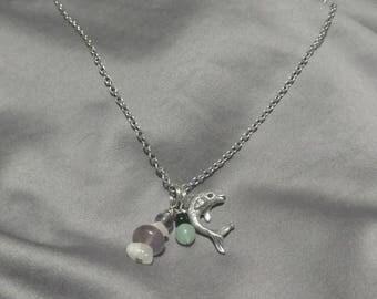 Semi-precious Stone and charm necklace.