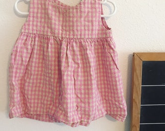 90s pink checkered sleeveless dress, pink and white dress, vintage sleeveless dress, vintage baby dress, 12-18 months baby dress,