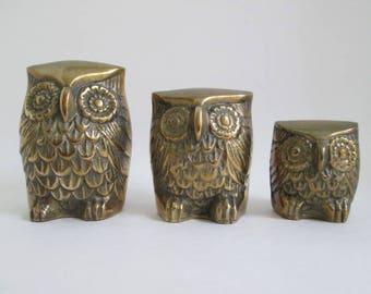 Three Matching Vintage Leonard Solid Brass Owls - Home Décor / Desk Art / Paperweights