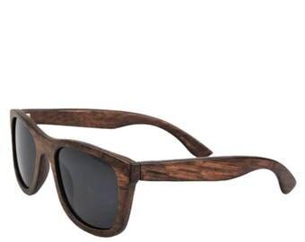BROWN BAMBOO SUNGLASSES Polarized Wooden Sunglasses Black lenses Beach Style Bamboo Natural Summer Eyewear Mens Glasses Wood Gift Black lens
