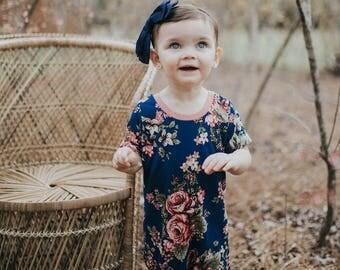 Flower Romper, Floral Romper, Flower Print Romper, Navy Romper, Short Sleeved Romper, Baby Romper, Toddler Romper