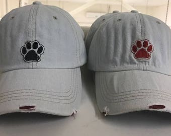 Denim baseball cap with paw embroidery in black/Red NEW 2017