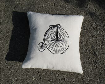 Retro Bike Silk Screened Pillow