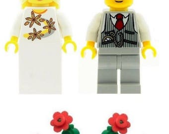 Wedding Bride with Blonde Hair & Groom with Waistcoat Minifigures with Flowers Made From LEGO Parts