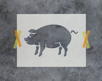Pig Stencil - Reusable DIY Craft Stencils of a Pig Silhouette