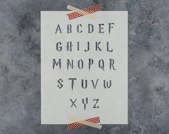 Harry Potter Stencil - Reusable Letter Stencil Template in Harry Potter Style Font Alphabet Stencils