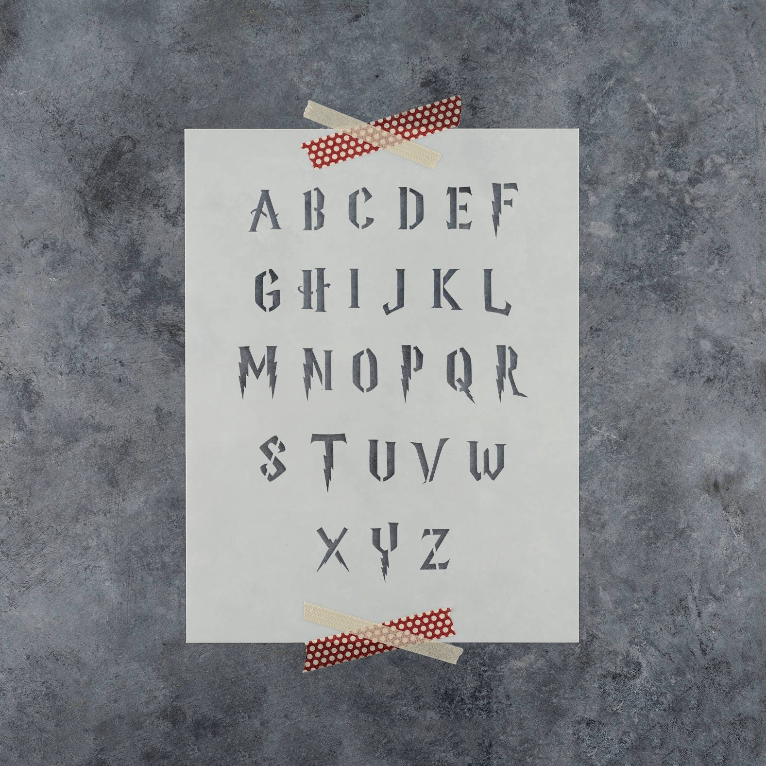 Harry potter stencil font full alphabet upper and lower case harry potter stencil reusable letter stencil template in harry potter style font alphabet stencils amipublicfo Gallery