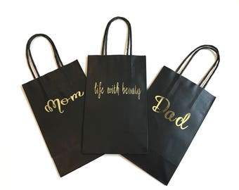 Personalized Gift Bags | Black Custom Gift Bags | Shower Gifts | Wedding Favors | Kraft Bag | 8.5x5.25