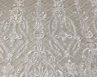 Bridal Lace Fabric/Luxury Haute Couture White  Bridal Fabric