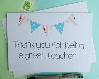Teacher Thank You Card - Thank You Teacher - Teacher Thank you - Teacher Card - Teacher Appreciation Card - Teacher Appreciation - Teacher