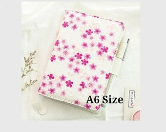 Cover for Hobonichi A6 Size Japanese Planner, Organizer Faux Leather Notebook, Japanese Cherry Blossoms, Unbranded, with Cover on Cover