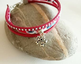 Bracelet liberty charm red suede bow ღ