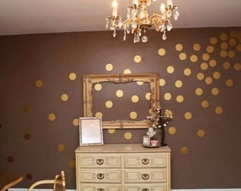 100 Gold Metallic Polka Dot Wall Decals