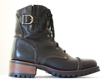 Black Leather Boots Harley Davidson Motorcycle Boots Womens Boots Vintage Boho Boot Leather Combat Boots 90s Grunge Goth Steampunk Moto 8.5