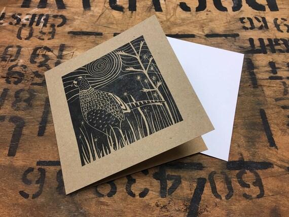 Pheasant Card • Pheasant Lino Print • Pheasant Art • Pheasant Greeting Card • Pheasant Birthday Card • British Wildlife Card • Gamebird Card