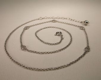 Gorgeous Vintage Sterling Silver Genuine Small Diamond Chain Necklace 18-20.5 Inch Length 925