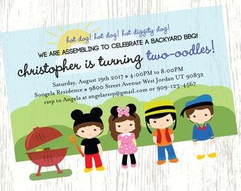 Mickey & Friends BBQ birthday invitation Mickey Minnie Goofy Donald Duck