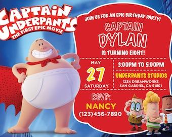 Captain Underpants Invitation, Captain Underpants Invite, Captain Underpants Blackboard Invitation, Captain Underpants Birthday Party Invite