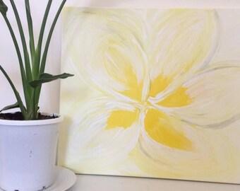 Frangipani White Plumeria Flower Painting Tropical Island Decor Beach Art Birthday Wedding Engagement Present Hawaii Tahiti Cook Is Fiji Is