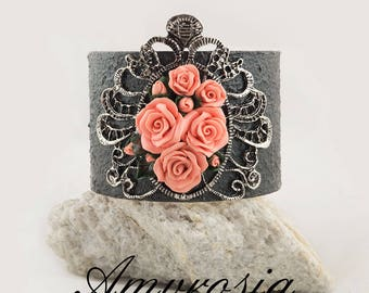 Roses on Black Lace bracelet, hand decorated , handmade roses