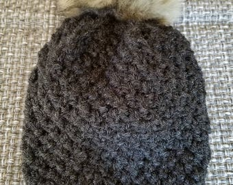 Textured Knit Beanie with Deluxe Pom Pom