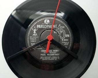 "Paul McCartney - 'Ebony & Ivory' 7"" Vinyl Record Clock"