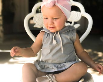 Pink and white, baby turban, knot turban, baby hat
