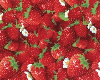 "Strawberries Novelty Fabric Cotton Fat Eighth 9""X21"""