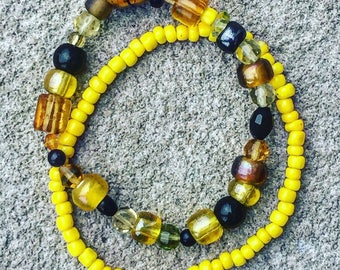 Here comes the Sun - Yellow Beaded Bracelet Set