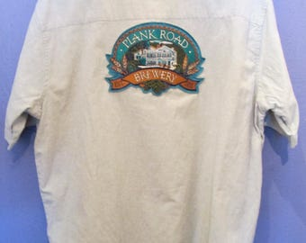 Men's Plank Road Brewery Button-Down Beer Shirt Size L