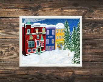 Cozy Winter Print, Cozy Village, Canadian Art, Winter Scene, Cozy Print, Cozy Winter Village, Cozy Village, Ski Village, Acrylic Painting