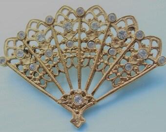 Filigree Fan Pin With Rhinestones
