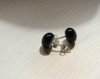 Black stud earrings with sterling silver posts and backs