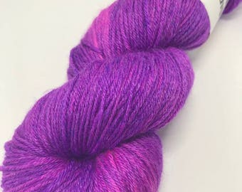 Hand Dyed Yarn Wool 80/20% Superwash BFL/Bamboo 400m 100g Hank Sock Fingering 4Ply Oddball Vivid Purple Pink Variegated