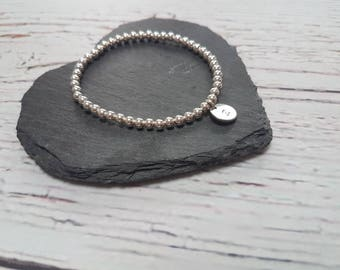 Sterling Silver Personalised beaded bracelet with choice of handstamped initial charm - personalised gift - gift for her.