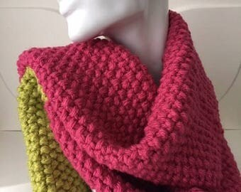 Pink and Lime Winter Hand Knit Scarf