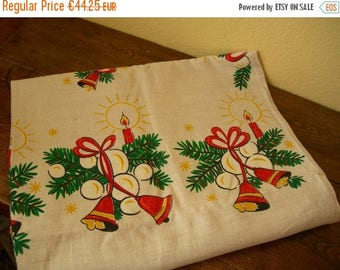 SALE Beautiful Large Christmas Tablecloth Candles Bells Christmas Trees Printed On Linen Holiday Xmas Tablecloths Vintage Beige Red Green Go