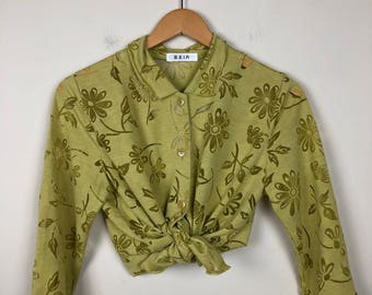 Vintage Floral Button Up Size M/L, Lime Green Button Up