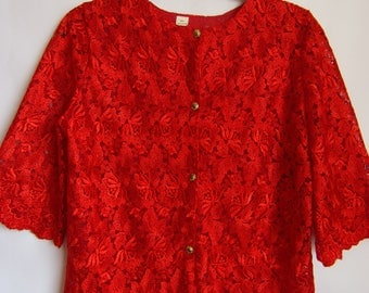 Vintage 90s Women's Blouse/ Bright Red Jacket/Lace Blouse/ Short Sleeve/ Button Up/Party Blouse/ Size S- M