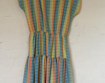 Gorgeous rainbow striped 1970's dress - size 12/14